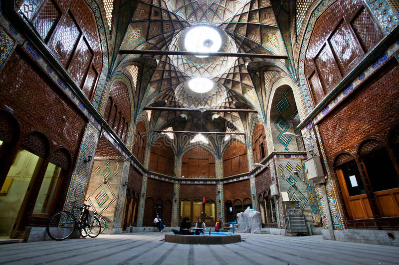 Inside the beautiful courtyard of historical bazaar in Iran royalty free stock photography