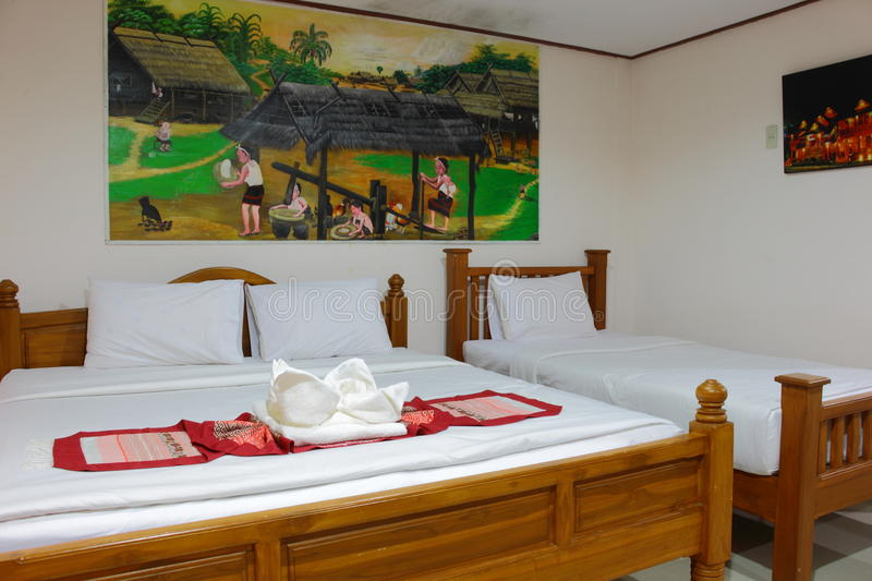 Inside of bedroom by Thai Lanna style royalty free stock images