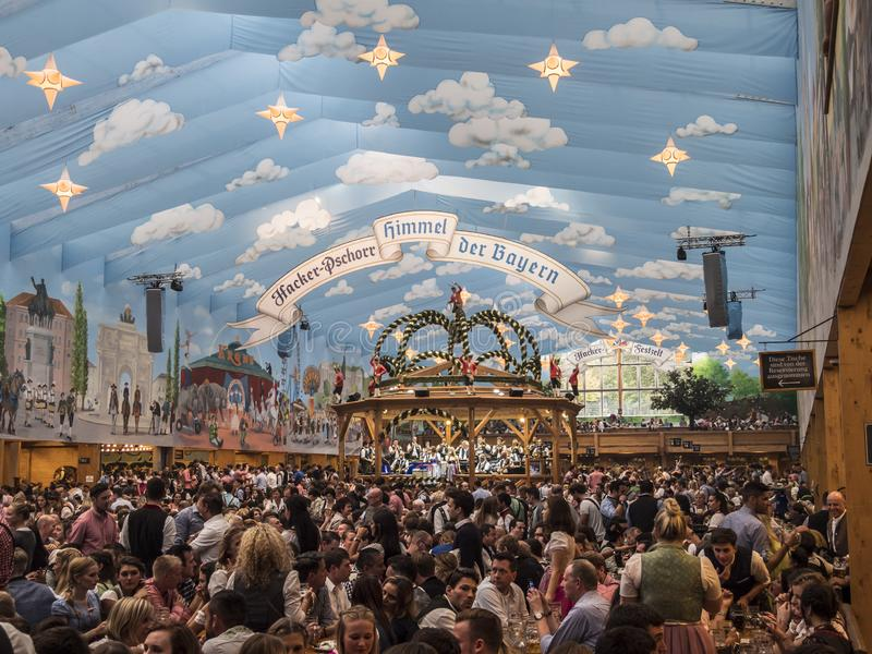 Inside the beer tent. Inside one of the beer tents of the Oktoberfest , Munich, Germany royalty free stock photos