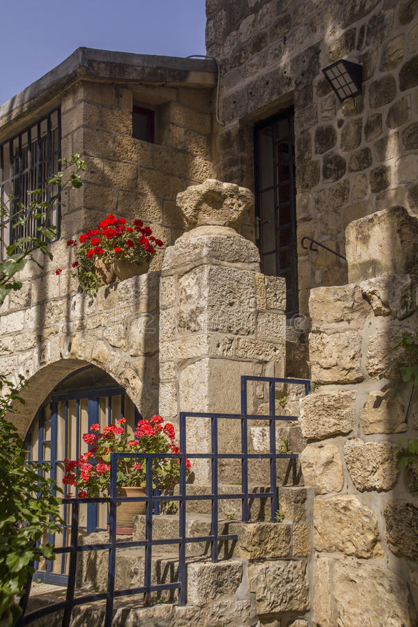 Inside of Benedictine monastery in Abu Ghosh(Emmaus),Israel. The Yard of monastery in place of biblical Emmaus ,built by the Crusaders in the 12th century on top royalty free stock photos