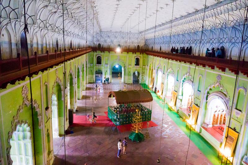 Inside of the bhool bhulaiya complex in bara imambara lucknow. Inside aerial view of the bara imambara complex in lucknow. The shot captures the hall above which royalty free stock photos