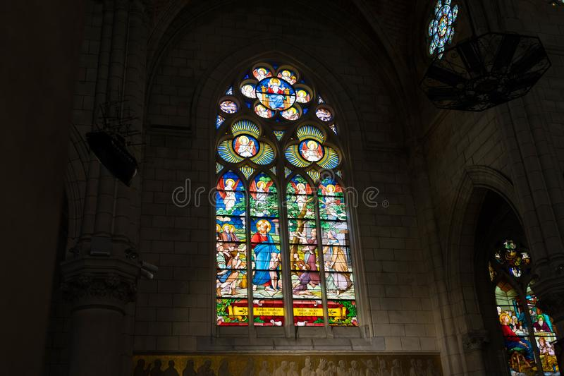 Inside of Biarritz Church stained glass architecture stock photo