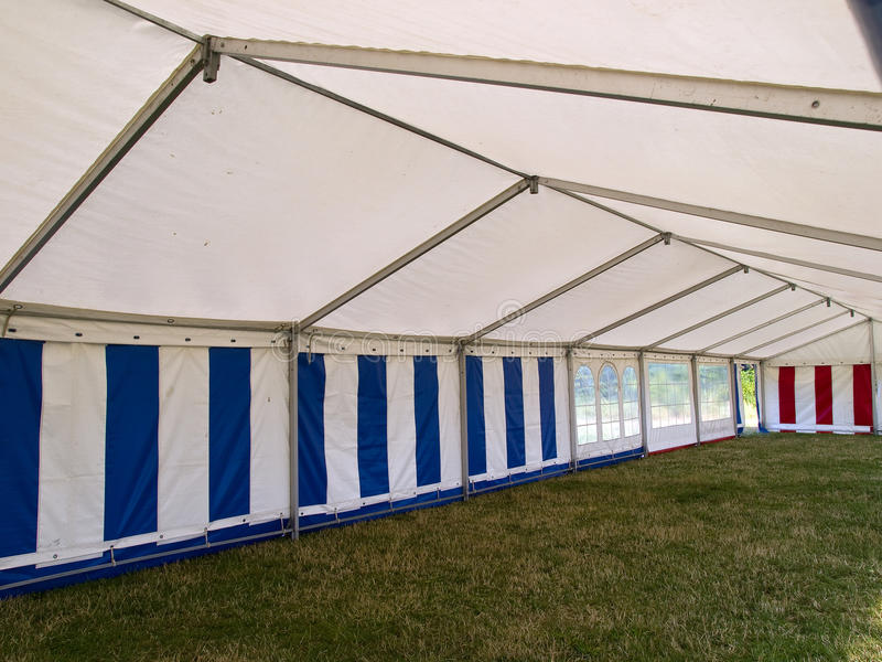 Inside a big party tent royalty free stock photography