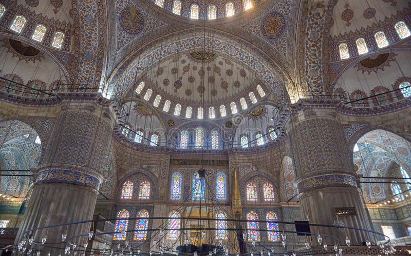 Inside of blue Mosque stock photos