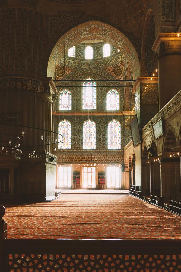 Interior view from the Blue Mosque,. Inside the Blue Mosque in Istanbul, a beautiful historical interior stock photography