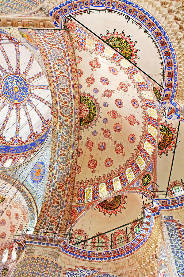 Inside Blue mosque in Istanbul, Turkey stock photos
