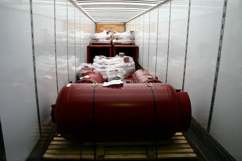 The inside of a cab's trailer showing its loaded cargo. A Trucking Company's Tractor-Trailer Shipment royalty free stock photography