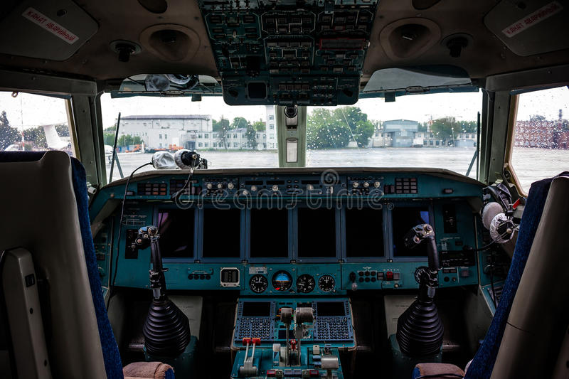Inside cabine of an plane. In airport of Rostov-on-Don stock image