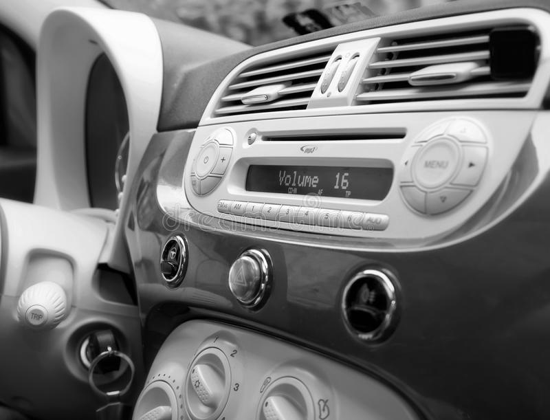Inside a car: dashboard and design stock image
