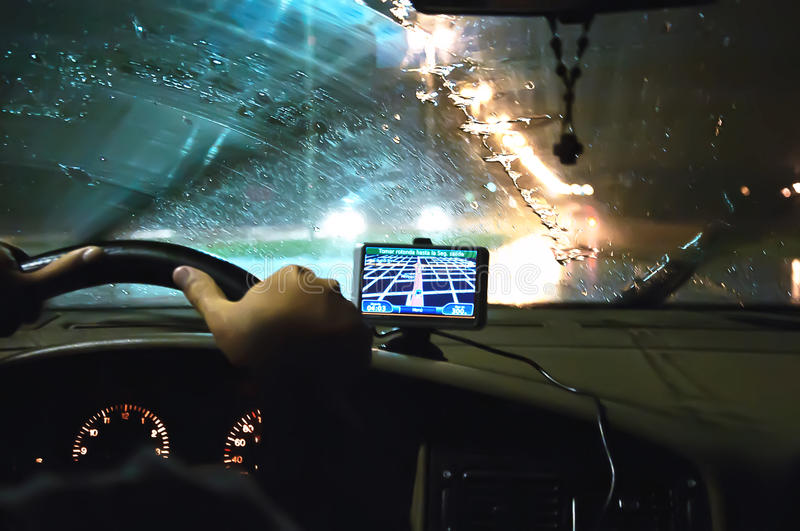 Inside A Car With Gps Royalty Free Stock Photography
