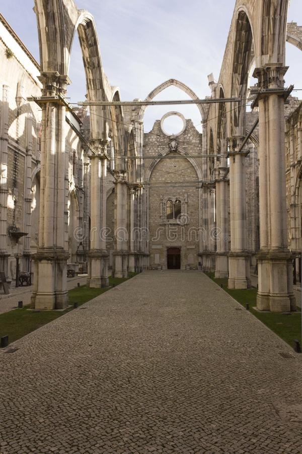 Inside Carmo Convent in Lisbon royalty free stock photo