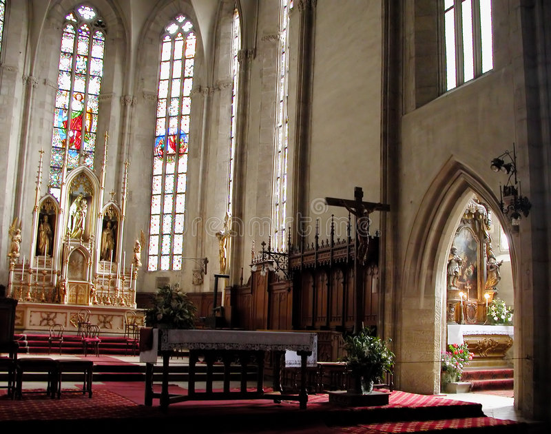 Inside cathedral stock photos