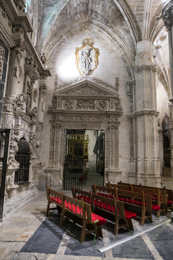 Inside of the Cathedral of basin, Chapel of them Knights, the fa. CUENCA, SPAIN - August 24, 2016: Inside of the Cathedral of basin, Chapel of them Knights, the stock images