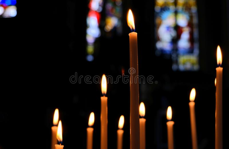 Inside a cathedral of catholic church royalty free stock photography