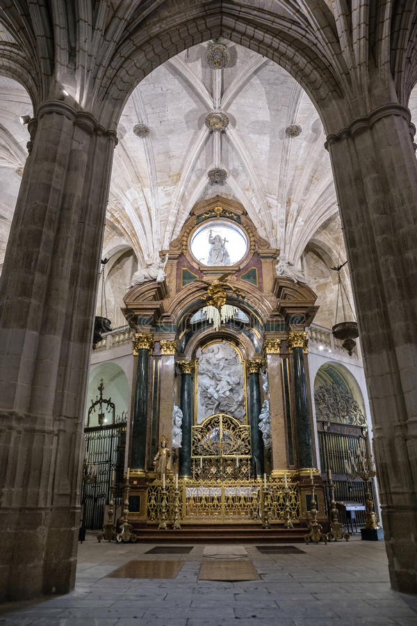 Inside the Cathedral of Cuenca, Chapel New of San Julián or the. CUENCA, SPAIN - August 24, 2016: Inside the Cathedral of Cuenca, Chapel New of San Julian or stock photography