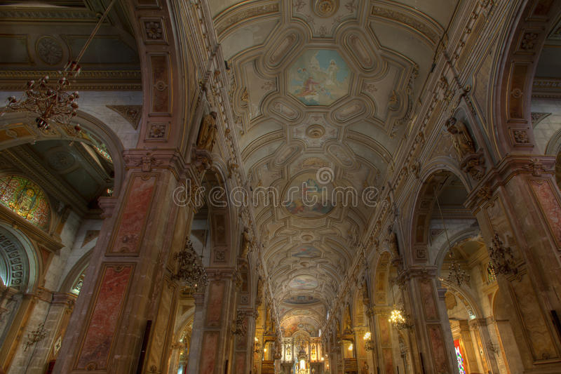 Inside of Cathedral de Santiago, Chile royalty free stock photo