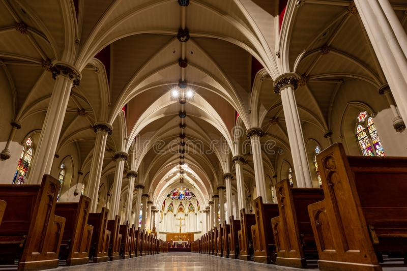 Inside of the Cathedral of Halifax in Canada. 15. May 2019 stock photography