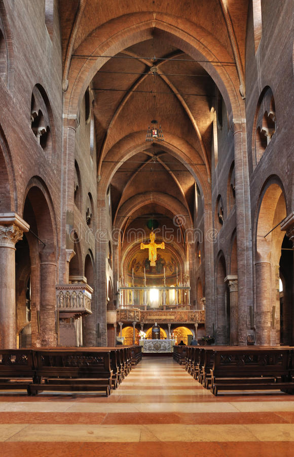 Inside the cathedral of Modena royalty free stock photos