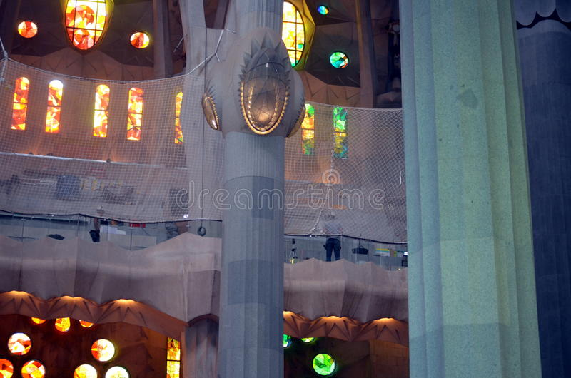 Inside the cathedral Sagrada Familia Barcelona. Spain royalty free stock photo
