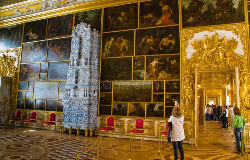 Inside Catherine pałac w St Petersburg zdjęcia stock