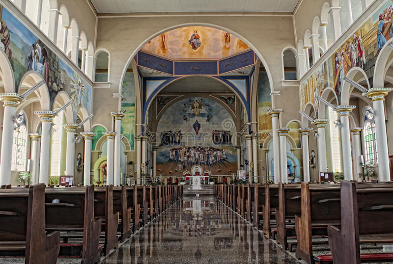 Inside of a catholic cathedral. Of Assis City, Sao Paulo State, Brazil royalty free stock photo