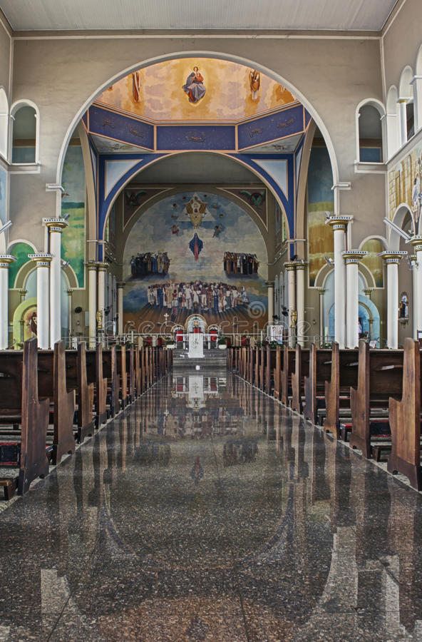 Inside of a catholic cathedral. Of Assis City, Sao Paulo State, Brazil royalty free stock photography