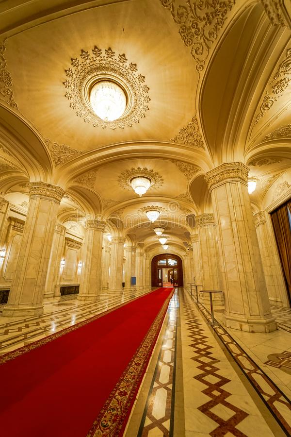 Inside Ceausescu luxury Palace decoration royalty free stock photos