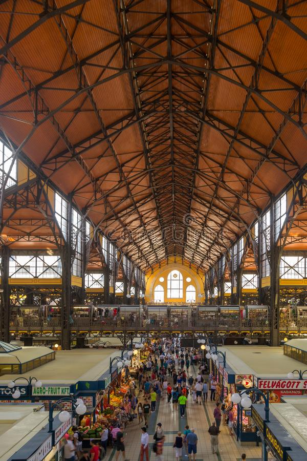 Inside the Central Market of Budapest, a major tourist attraction royalty free stock photo