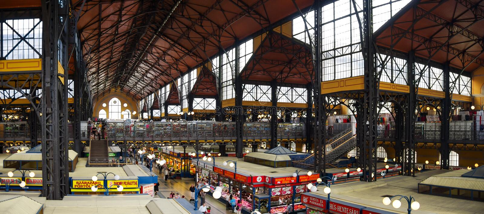 Inside the Central Market of Budapest, a major tourist attraction royalty free stock image