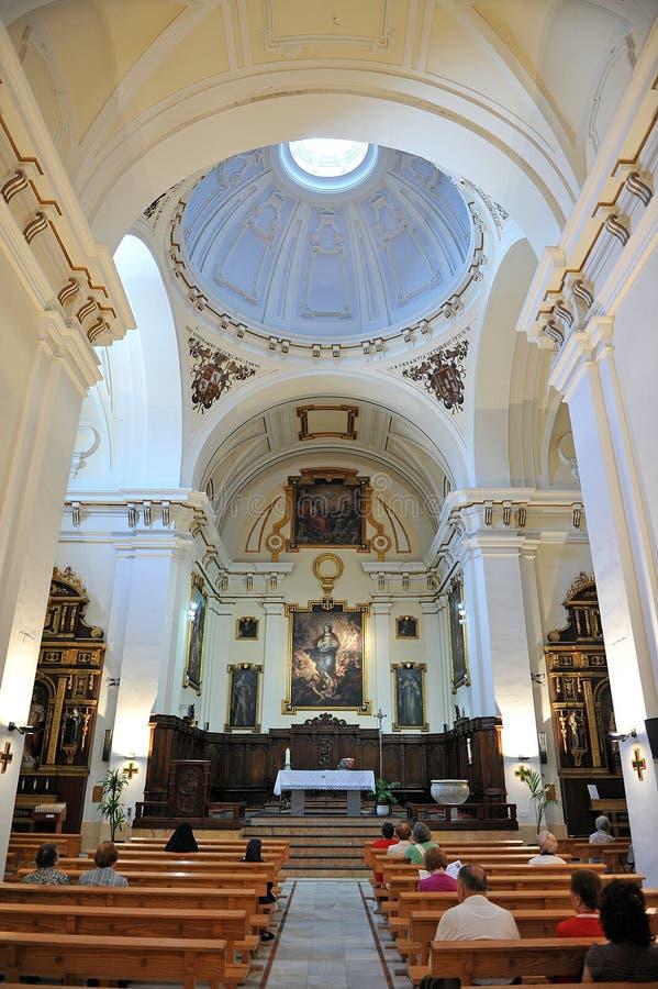 Inside Church of Santa Maria del Prado named Merced, Ciudad Real, Spain. Indoor of the church of The Mercy in Ciudad Real, Castilla la Mancha, Spain royalty free stock photography