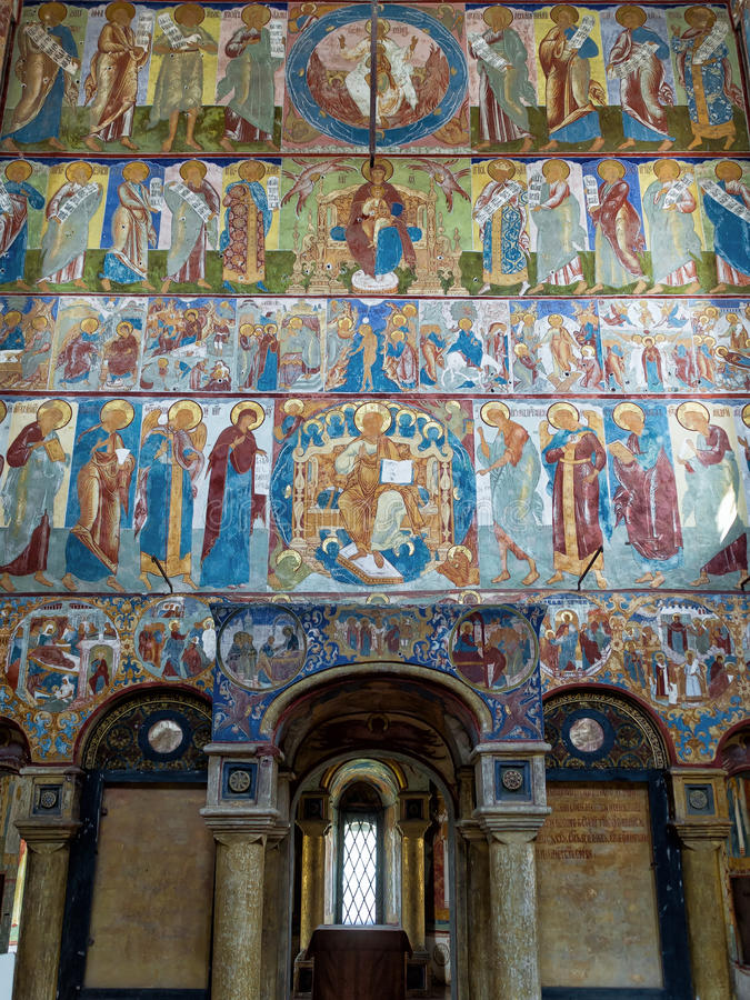 Inside the Church of St. John the Evangelist in Rostov the Great royalty free stock image