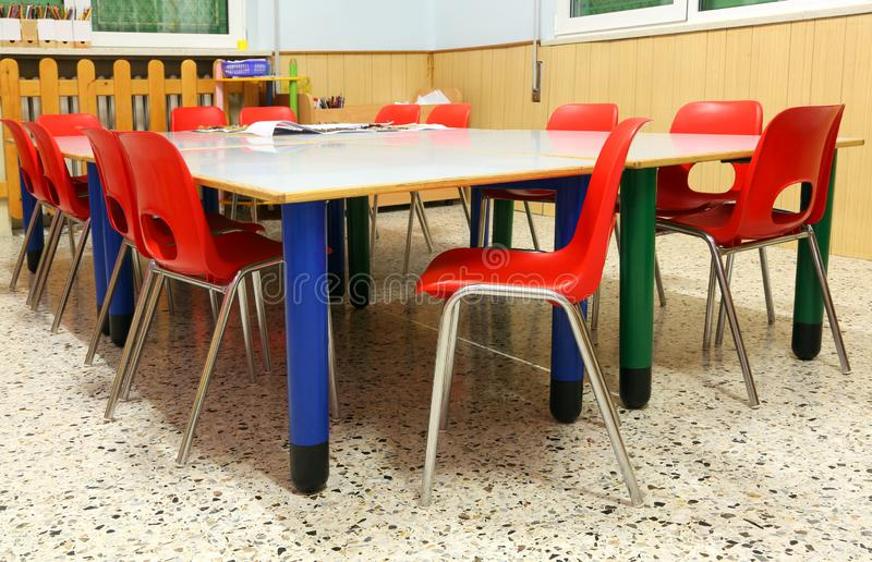 Inside a classroom of a preschool. Without children royalty free stock photography