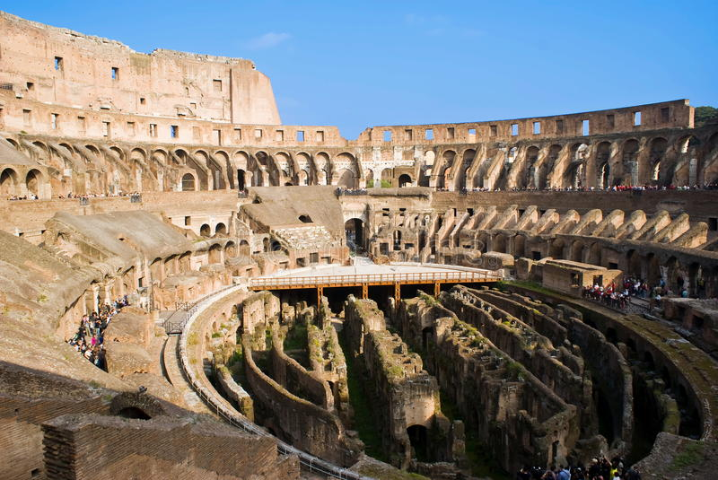 Inside the Colosseum. View of inside the Colosseum, historical amphitheatre in the centre of the city of Rome, Italy royalty free stock image