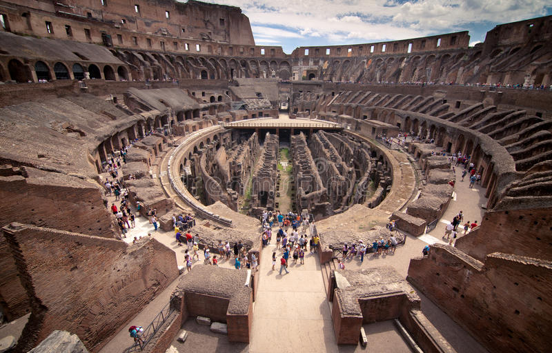 Inside Colosseum stock images