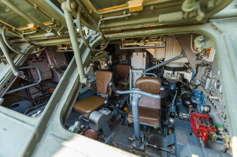 Inside of the combat vehicle 9A331 of the anti-aircraft missile system «TOR». KADAMOVSKIY TRAINING GROUND, ROSTOV REGION, RUSSIA, 26 AUGUST 2017 stock photography