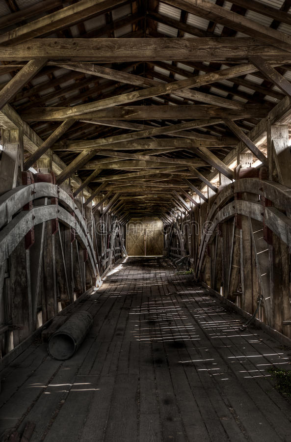 Inside the Covered Bridge royalty free stock photo