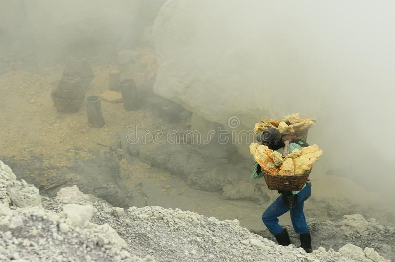 Inside of the crater of the volcano in Indonesia royalty free stock image