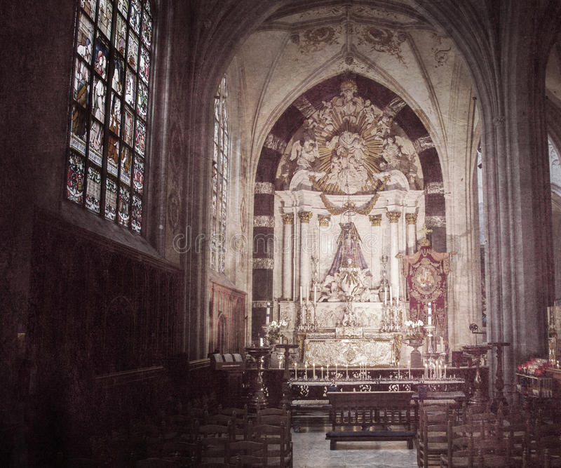 Download Inside Of A Creepy Old Church Stock Photo