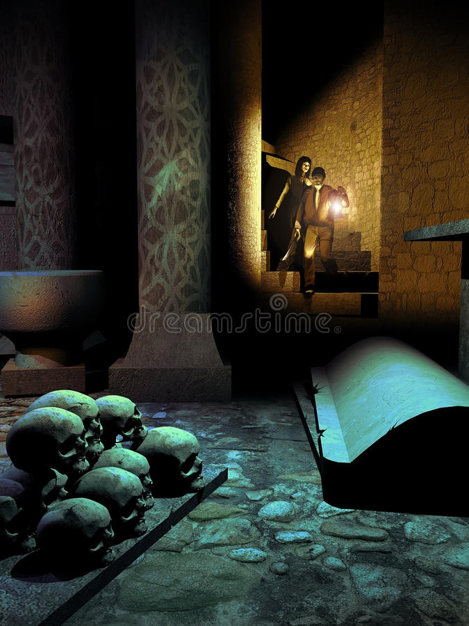 Inside the crypt. Couple with a lamp, entering into a crypt with a tombstone and human skulls on the floor vector illustration