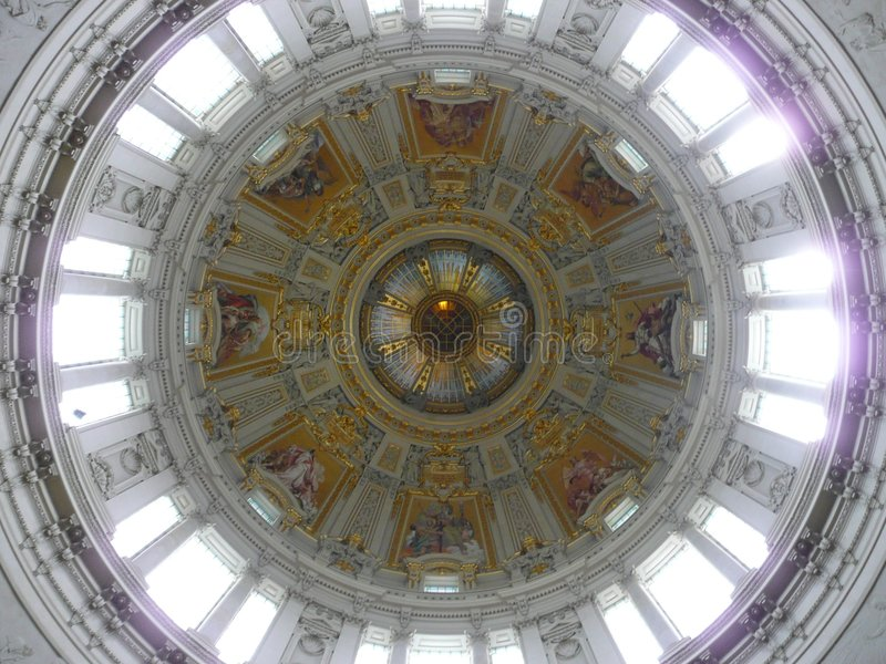 Inside cupola cathedral berlin stock photos