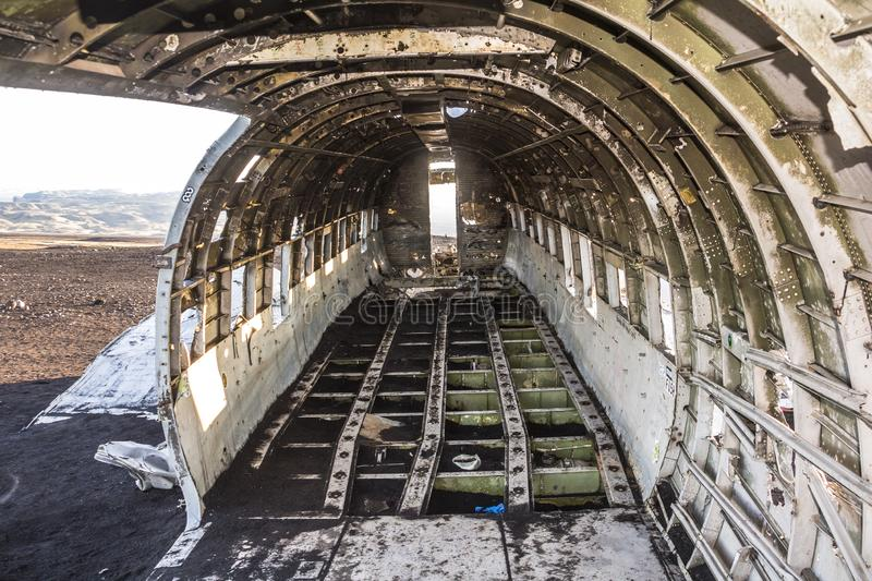 Inside the DC-3 plane wreck in Iceland at morning time stock photography