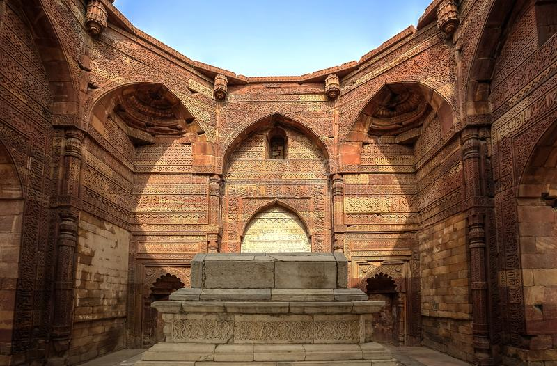 Qutub Minar Complex, India. Inside the Delhi Sultanate ruler tomb, part of the Qutub Minar complex in the Mehrauli area of New Delhi, India. A listed UNESCO royalty free stock photos