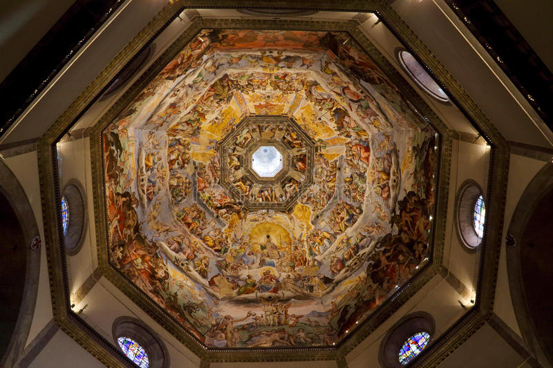 Inside the dome of Cattedrale di Santa Maria del Fiore. The name of the painting is called the Armageddon.Cattedrale di Santa Maria del Fiore is the world's royalty free stock photo