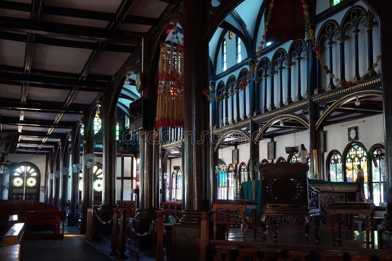 Inside drewniany kościół zdjęcie royalty free