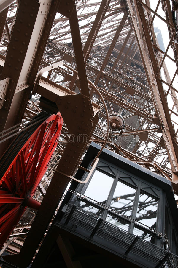 Inside Eiffel Tower royalty free stock photography