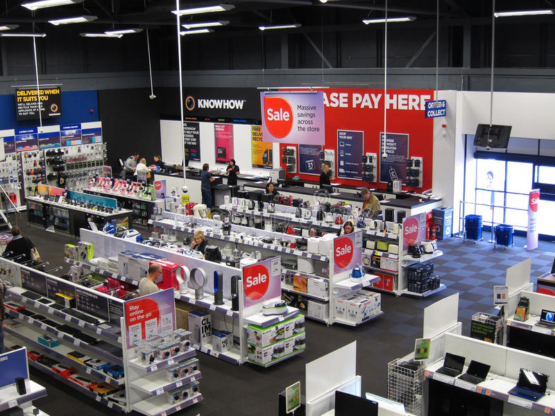 Inside an electrical appliance store. stock image