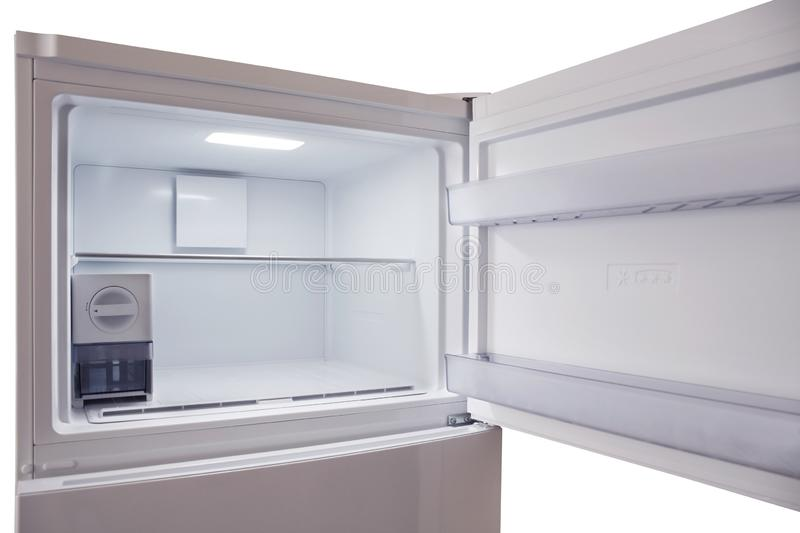 Inside of empty and clean modern refrigerator, freezer. Inside of empty and clean modern refrigerator royalty free stock photos