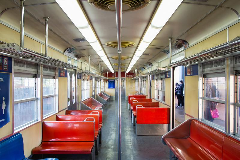 Inside the empty wagon. Only train line in Porto Alegre royalty free stock photography