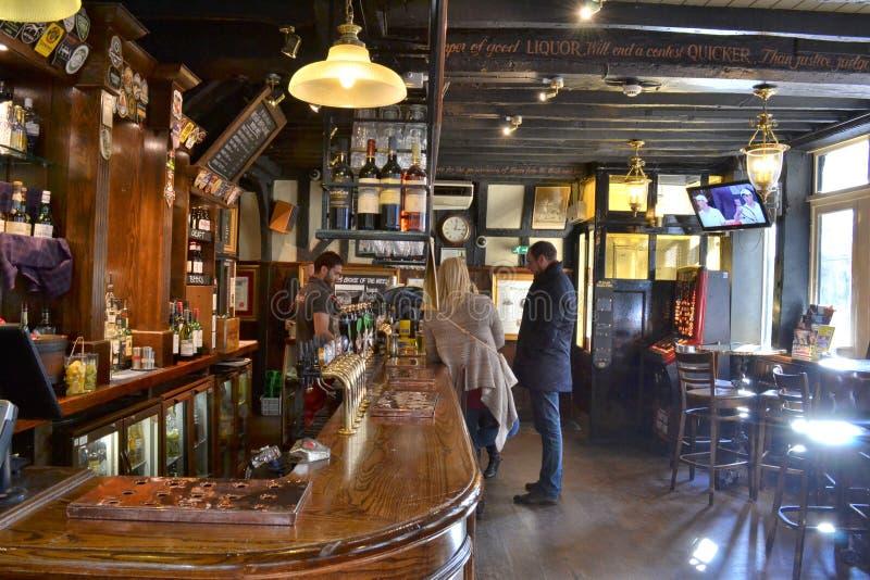 Traditional London pub interior stock photo