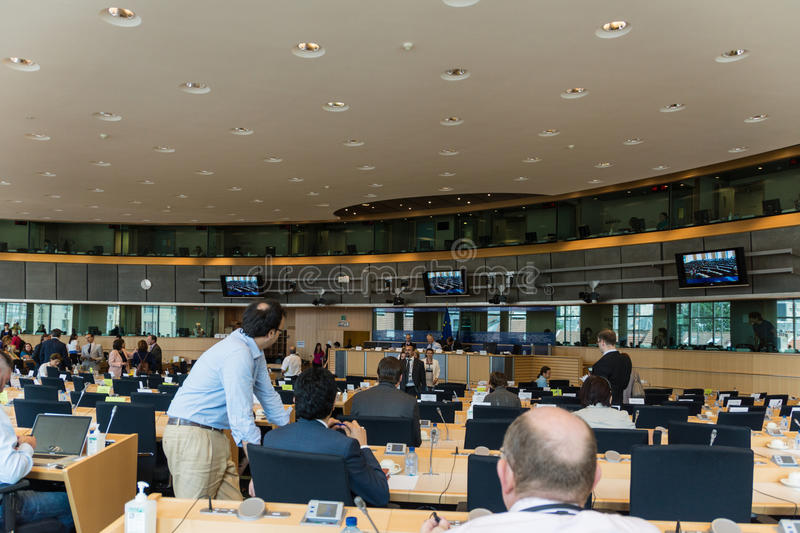 Inside the European Parliament stock image